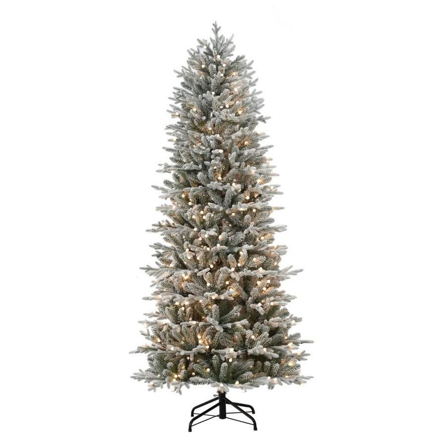 Holiday Living 7 5 Ft Pre Lit Essex Fir Slim Flocked Artificial Christmas Tree With 400 Constant Warm White Led Lights Lowes Com Pre Lit Christmas Tree Artificial Christmas Tree White Led Lights