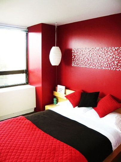 charming design red wall bedrooms | Crimson Red Bedroom Design Ideas | B & W Visualization ...