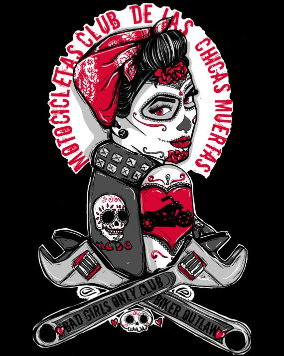 Rockabilly Pin Up Tattoo Flash Day of the Dead by Pajamasquid ... 1a233ec49ef