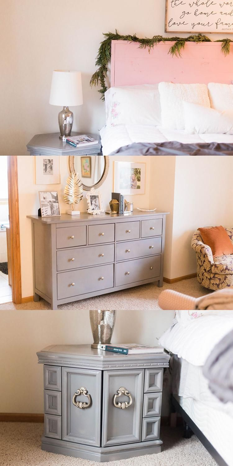 A Bedroom Redesign To Help You Rest Easy Tie Your Mismatched Furniture Together By Sprayin Bed Furniture Design Mismatched Furniture Painted Bedroom Furniture