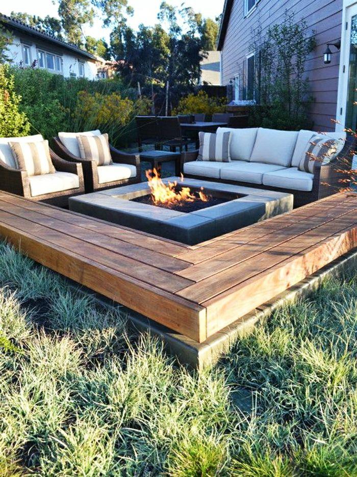 Elegant Gartengestaltung Ideen Sessel Pflanzen Feuerstelle