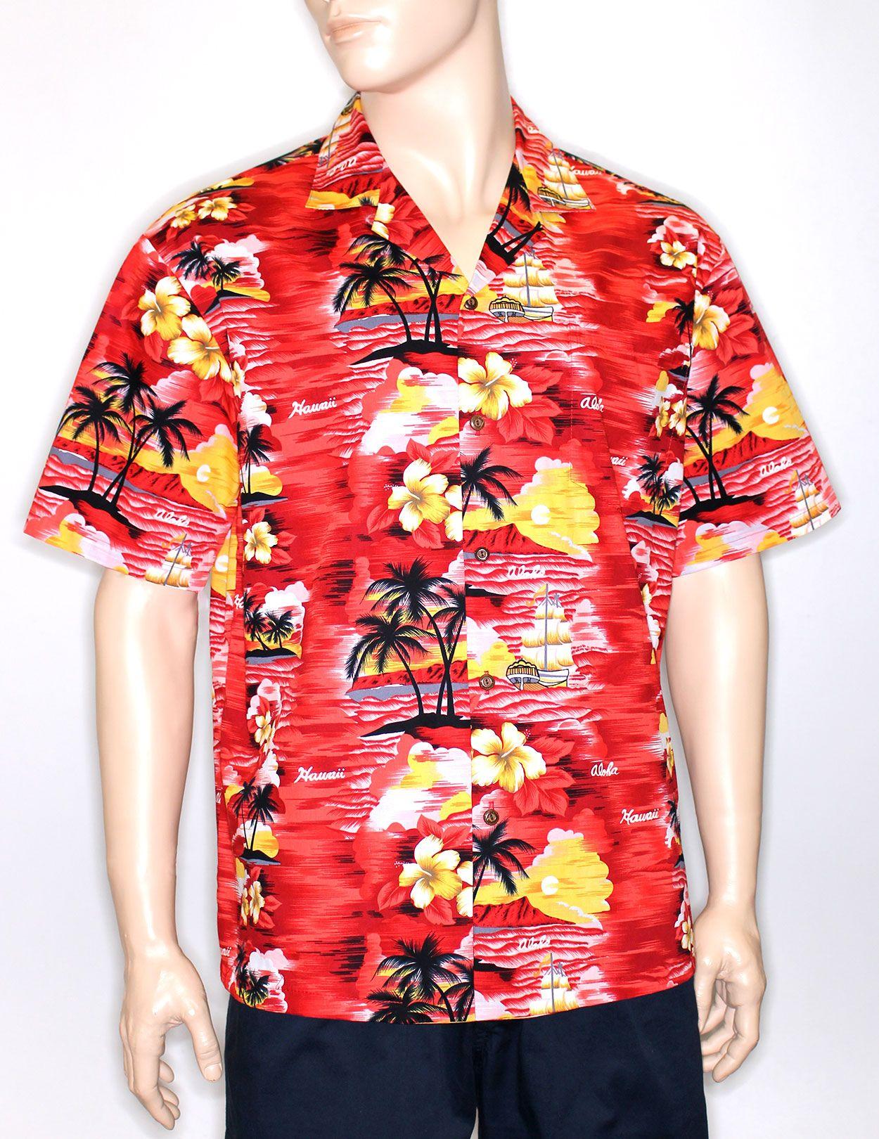 5a315b0308a FREE Shipping from Hawaii - Waikiki Sunset Aloha Shirt: Shaka Time ...