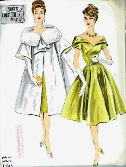1959 Vintage Vogue Sewing Pattern B36 One Piece Dress Coat 1767 Vintage Vogue Vintage Fashion Vintage Vogue Sewing Patterns