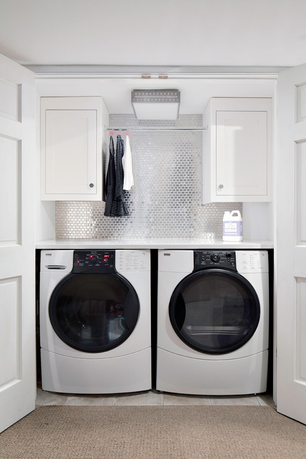 Laundry Room Cabinets With Hanging Rod Modern Laundry Rooms