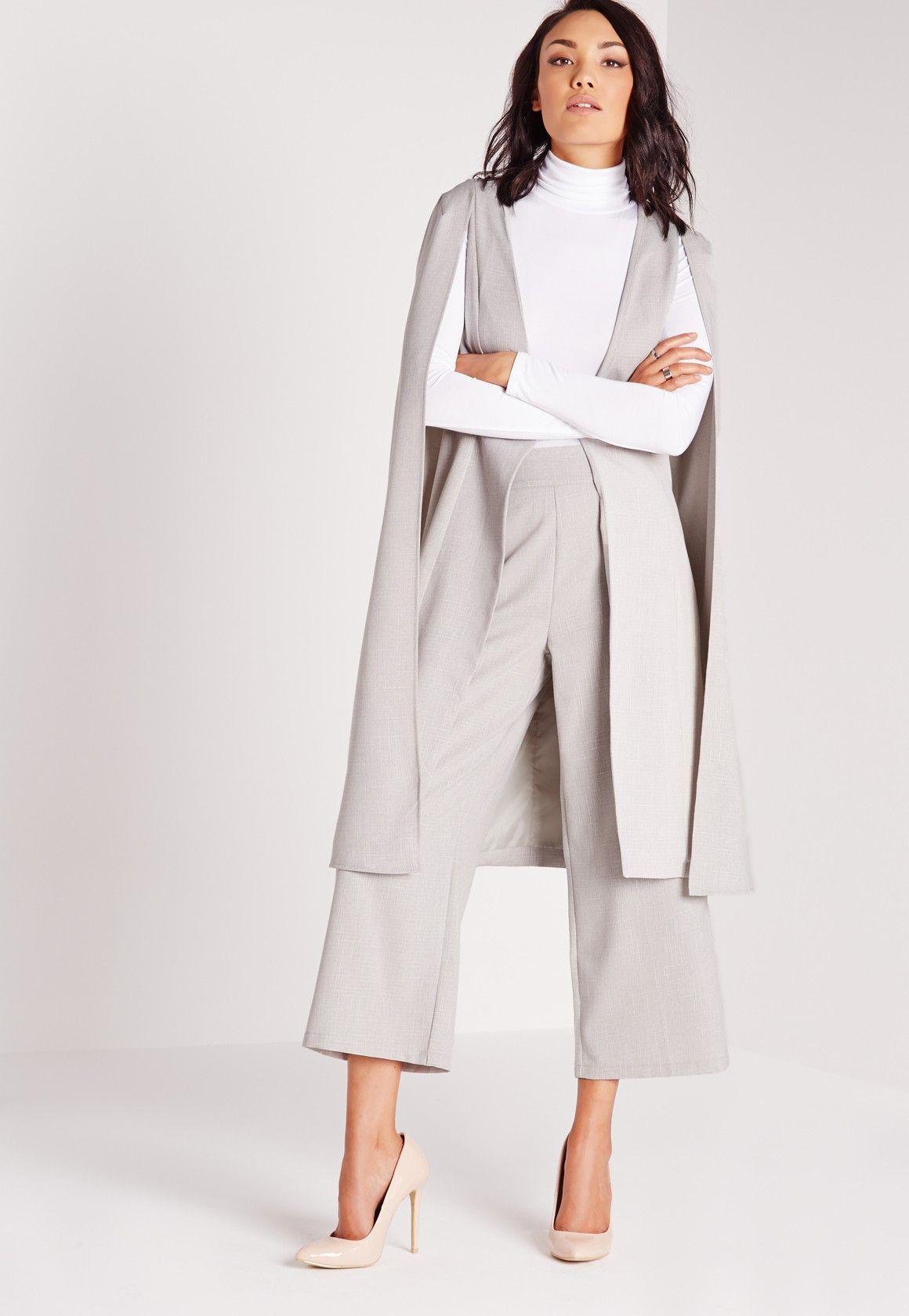 f7809baa7c Missguided - Longline Cape Blazer Grey | Spring | Coats for women ...