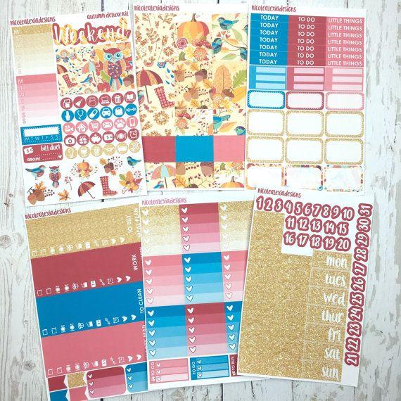 GLOSSY Fall Planner Sticker Kit, Erin Condren Vertical
