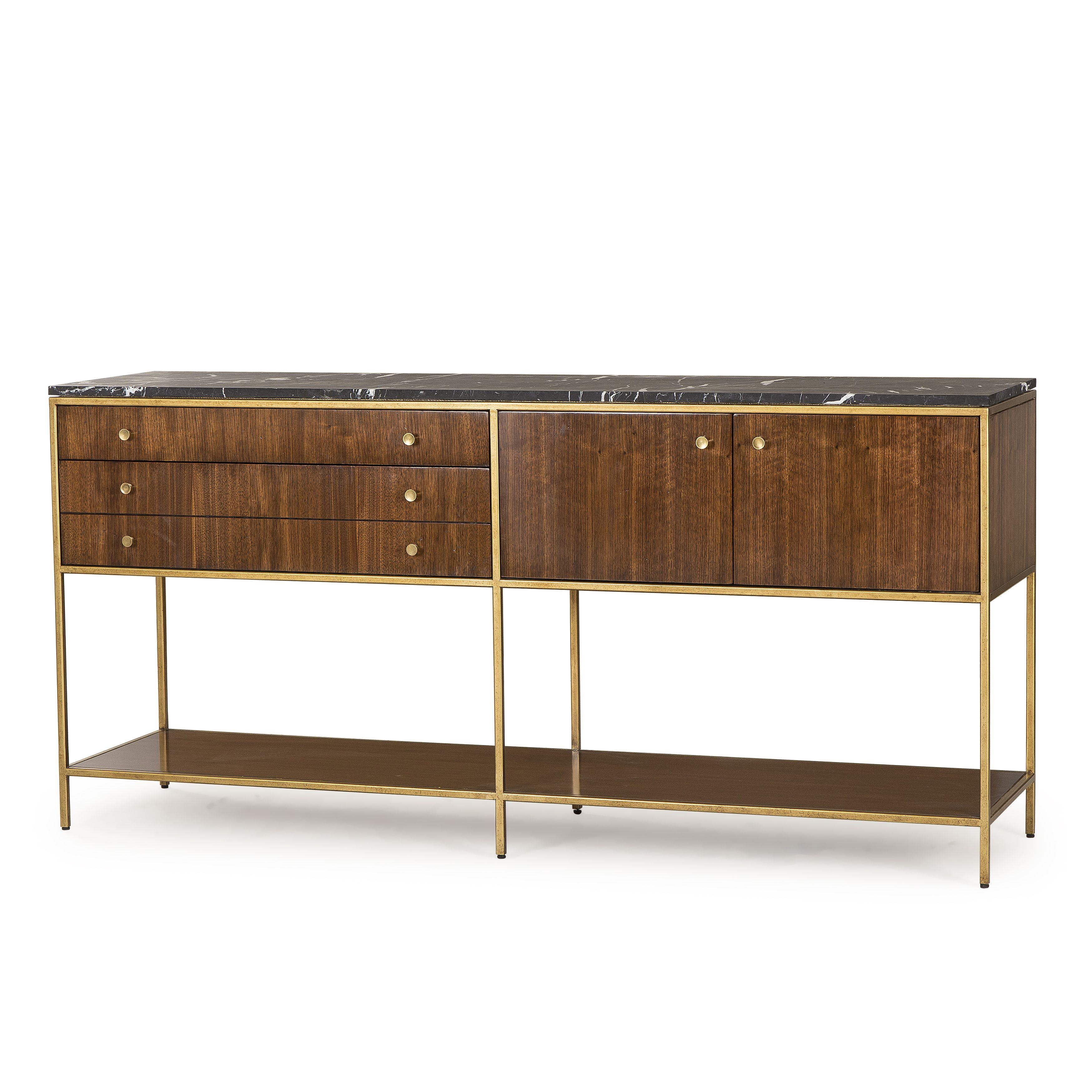 This Mid Century Inspired Console Table Features A Satin Brass Finished Metal Base Quartered Walnut Veneers And A Honed Black Con Imagenes Living Mediados De Siglo Muebles