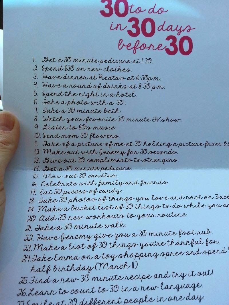 30th birthday 30 things