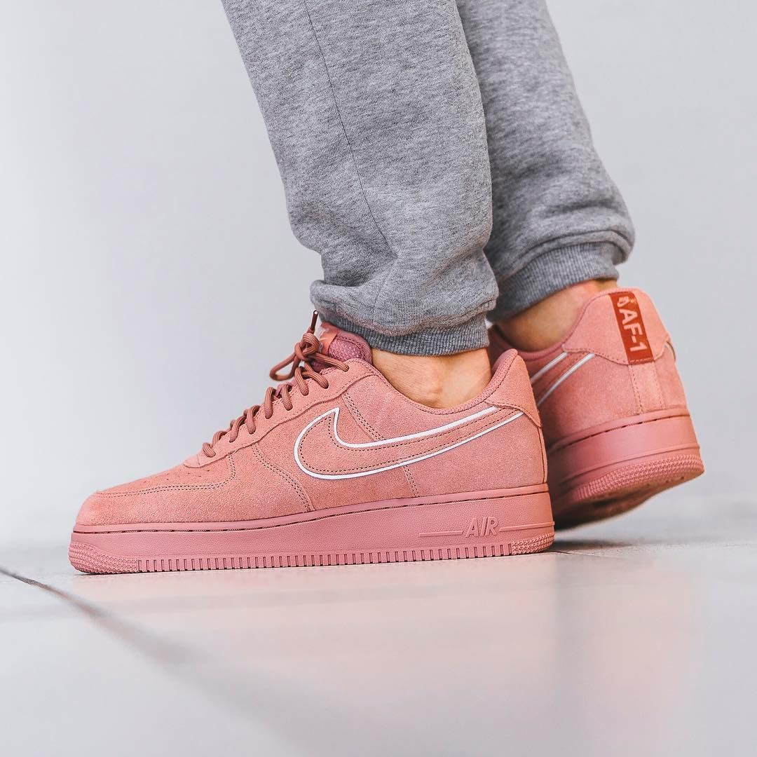 outlet store 28468 803c4 NIKE AIR FORCE 1 LOW 07 LV8 SUEDE RED STARDUST PINK AA1117 601