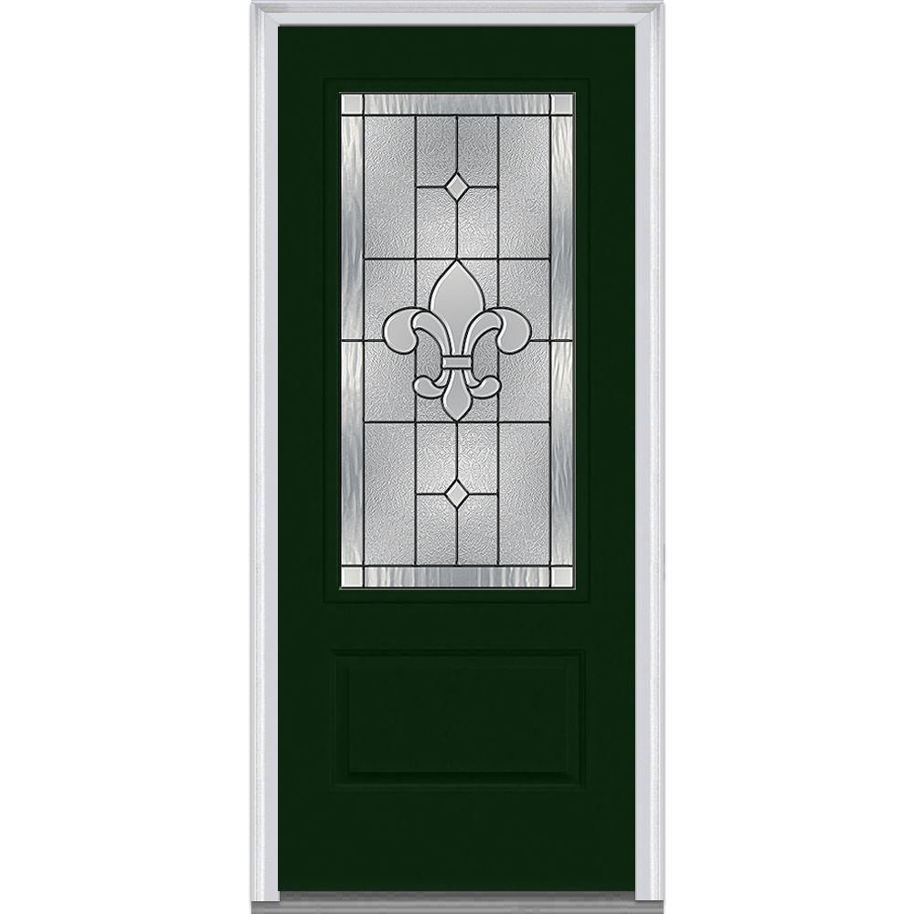Milliken Millwork 37.5 in. x 81.75 in. Carrollton Decorative Glass 3/4 Lite Painted Fiberglass Smooth Exterior Door, Rock Garden