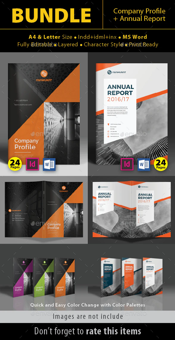 Bundle Vol 02 : Company Profile & Annual Report Complete Preview Company Profile Annual Report Features: A4 (210 mm x 297 mm) Letter (215.9 mm x 279.4 mm) Master Pages 24 Pages Character Style All text editable with text tool Easy to change Photo & Color Layered Document Guide lines Print Ready CMYK color Included files Indd CS4 Inx & Idml files (compatible in Indd CS3 & Indd CS4, CS5, CS6) Pdf preview files