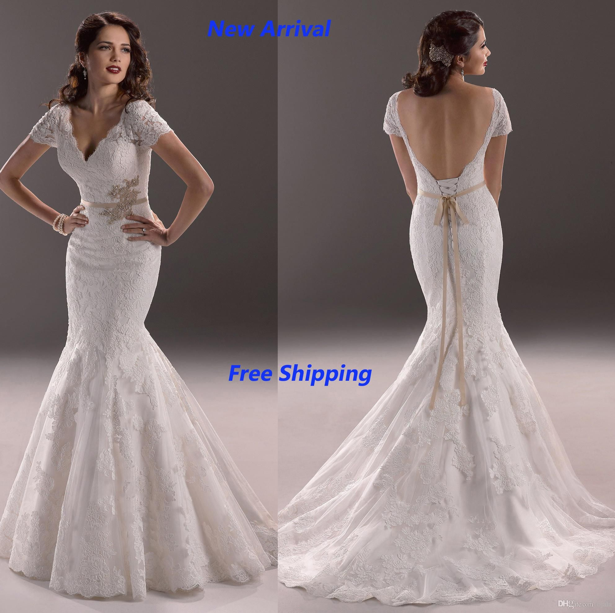 Free Shipping 100 53 Piece Whole W59 Short Sleeve Fish Tail Fashionable Plus Backless Mermaid Wedding Dressesdress