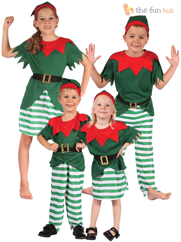 Christmas Fancy Dress Kids.Age 2 12 Kids Elf Costume Boys Girls Christmas Fancy Dress