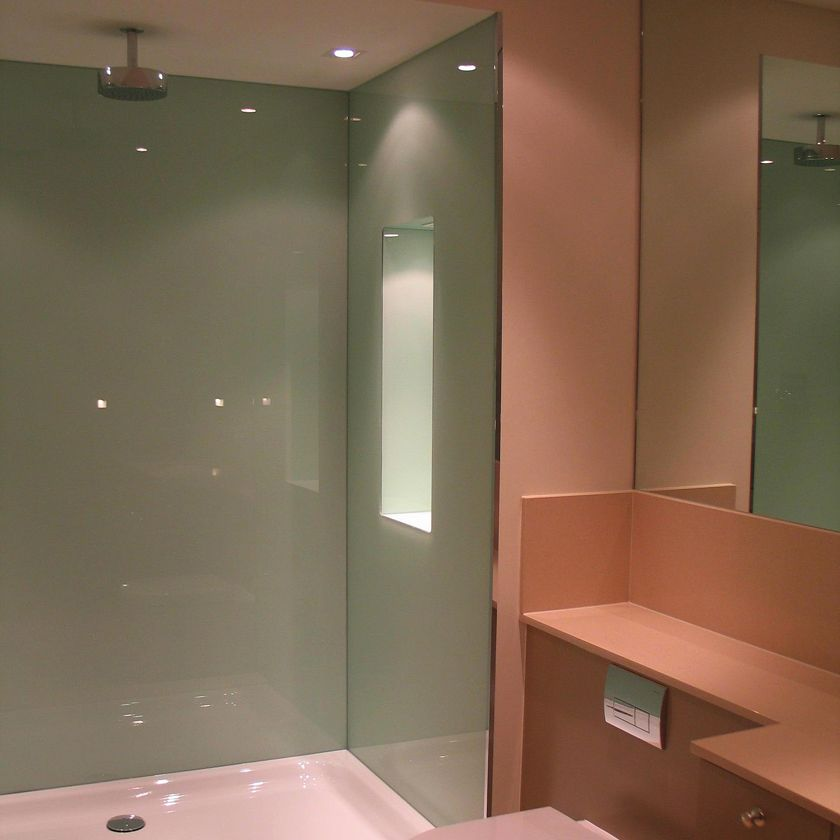 4   Survey and Installation   Colour Coated Glass shower walls   SSI. 4   Survey and Installation   Colour Coated Glass shower walls