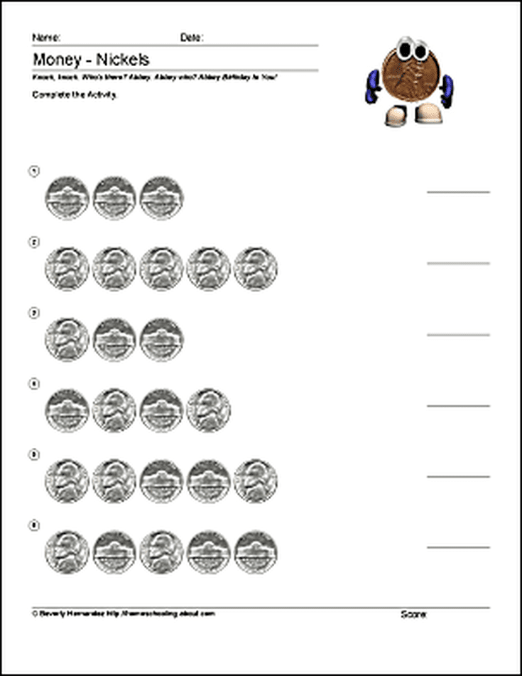 Free Math Worksheets For Counting Pennies Breakfast