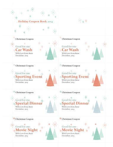 Holiday Coupon Book - Free Coupon \/ Ticket Template by Hloom - printable coupon templates free