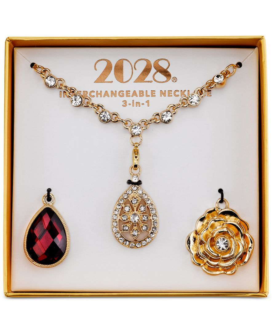 2028 Gold-Tone Red and Clear Crystal 3-in-1 Interchangeable Pendant Necklace Box Set