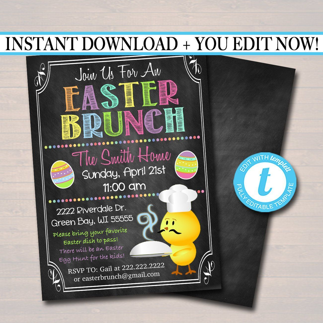 Easter Brunch Invitation, Easter Party  Invite, Printable Kids Easter Party, Easter Bunny Invitation - #brunch #bunny #easter #invitation #Invite #Kids #party #printable