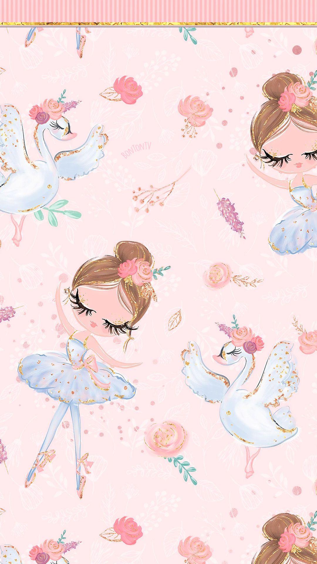 Phone Wallpapers Hd Cute Pink Swan Lake Ballerina By Bonton Tv Free Backgrounds 1080x1920 Wallpapers Wallpaper Pozadine B Seni Kertas Dinding Ilustrasi