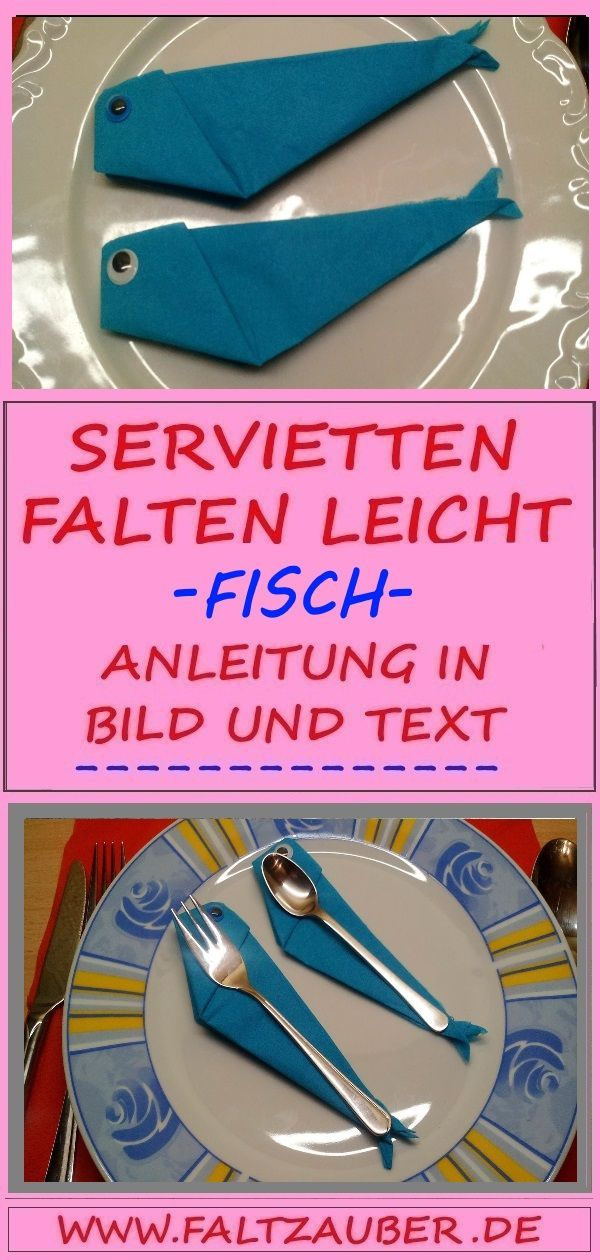 💘 Servietten falten Anleitung Fisch 👈