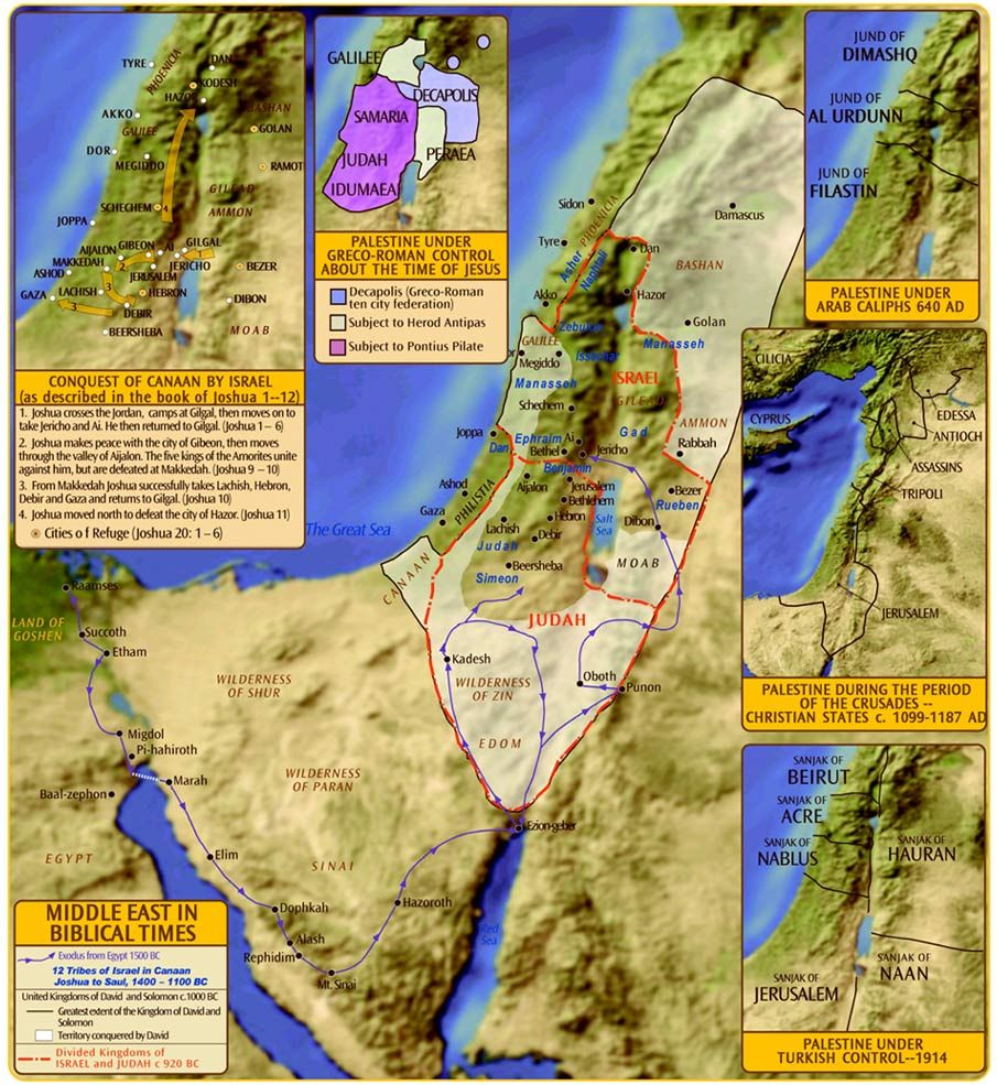 Palestine in Biblical Times Map | Bible mapping, Historical ...