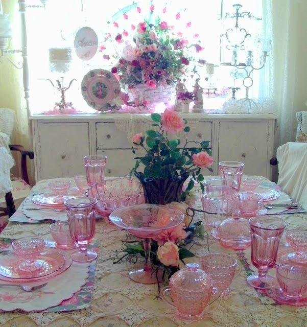 Pink Depression Glass for Valentines |  via Penny's Vintage Home