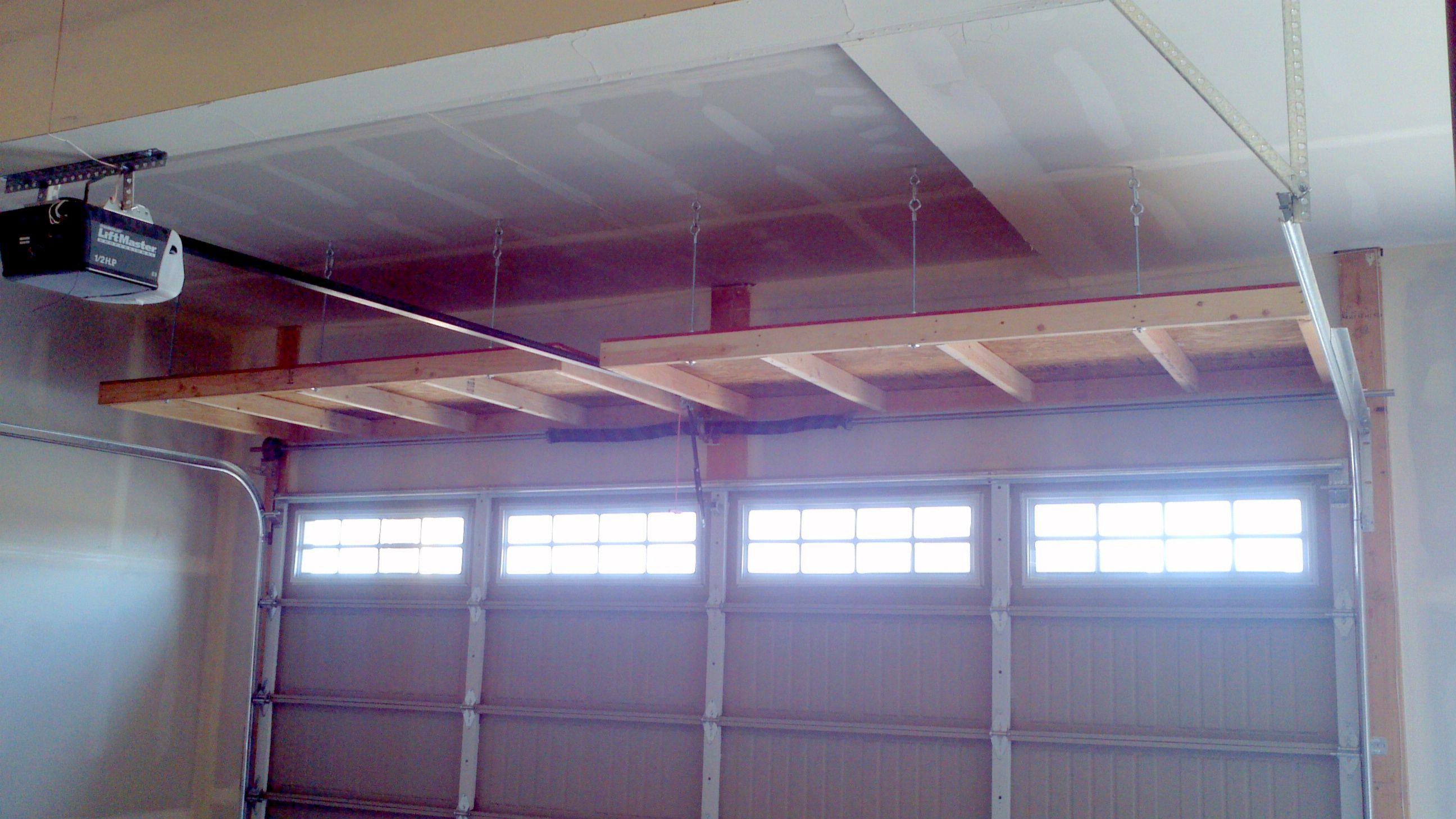 4 Ft Shelves Over Garage Door Diy Overhead Garage Storage