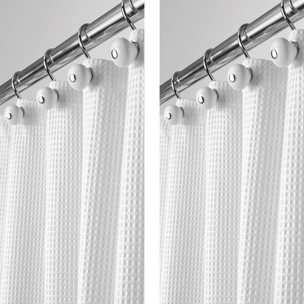 X Long Waffle Weave Fabric Shower Curtain 72 X 84 In Khaki