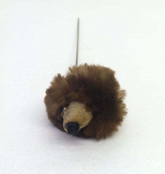 Vintage 1950s Hatpin Mink Fur Bear Head by VintageClothingDream