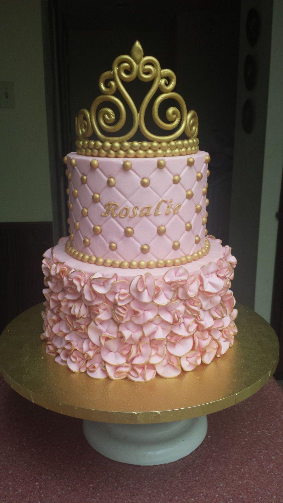 High Quality Little Princess Baby Shower Cake Buttercream Cake With Fondant Ruffles And  Gumpaste Tiara