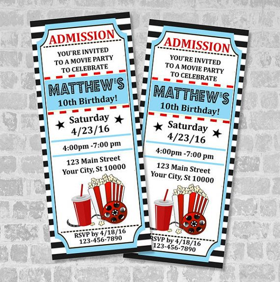 Movie Ticket Birthday Party Invitation Custom Printable Vintage