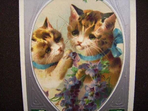 アンティーク猫ポストカード2カード絵葉書ねこ青いリボンのネコ Antique postcard ¥800yen 〆04月23日