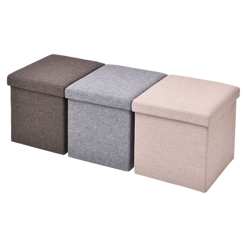 Single 1 Seater Folding Ottoman Storage Pouffe Seat Cube Foot Stool Box Stool  sc 1 st  Pinterest & Single 1 Seater Folding Ottoman Storage Pouffe Seat Cube Foot Stool ...