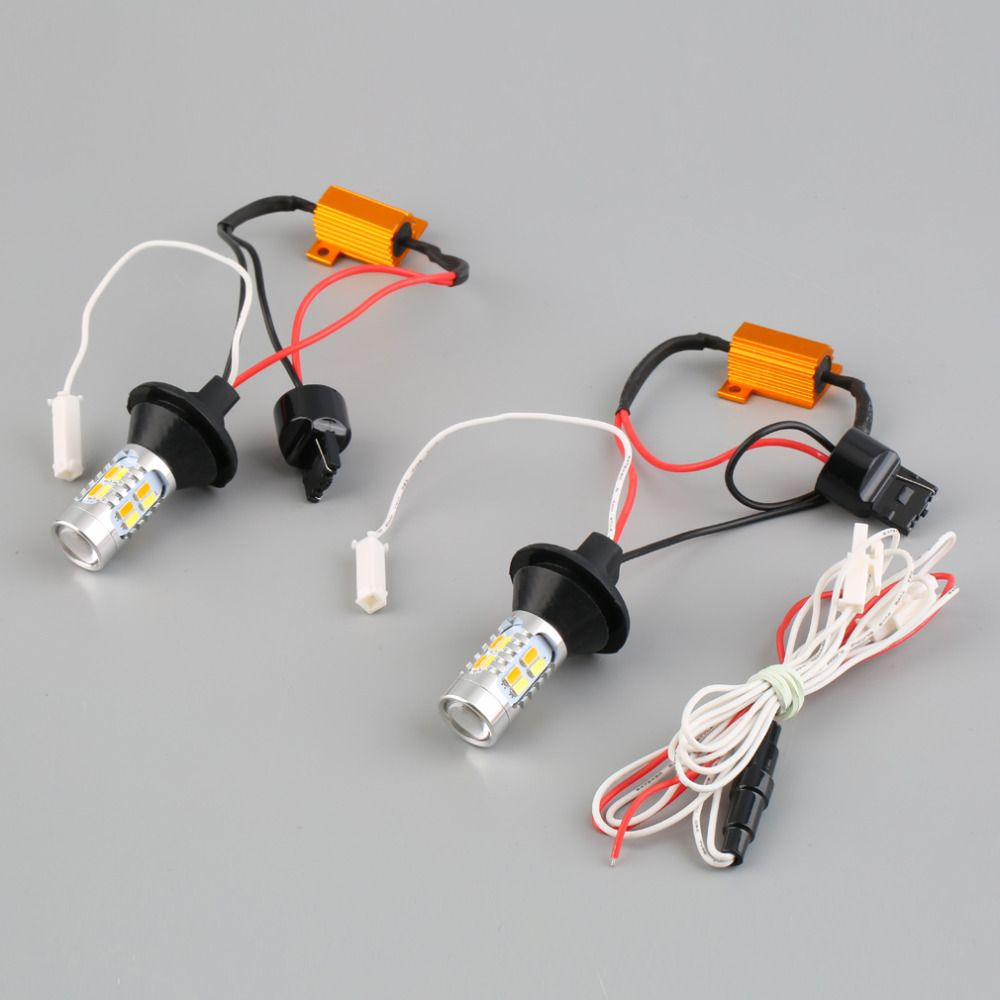 2pcs 1156 Dual-Color Switchback LED Turn Signal Light With DRL Function Kit
