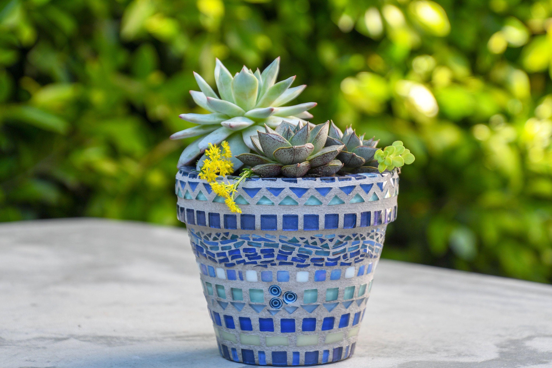 teals Mosaic Garden Pot green and hot pink colors Mosaic Vase Mosaic Flowerpot in blues