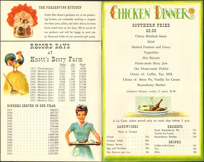 KnottS Berry Farm Chicken Dinner Restaurant Circa   Vintage