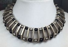 VINTAGE  MODERNIST MEXICO TAXCO ALICIA STERLING SILVER ONYX BEADED NECKLACE L57