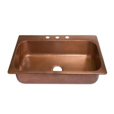 Sinkology Angelico Drop In Handmade Pure Copper 33 In 3 Hole