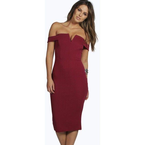 8c047de7de23 Boohoo Cara Bardot Midi Bodycon Dress ( 40) ❤ liked on Polyvore featuring  dresses