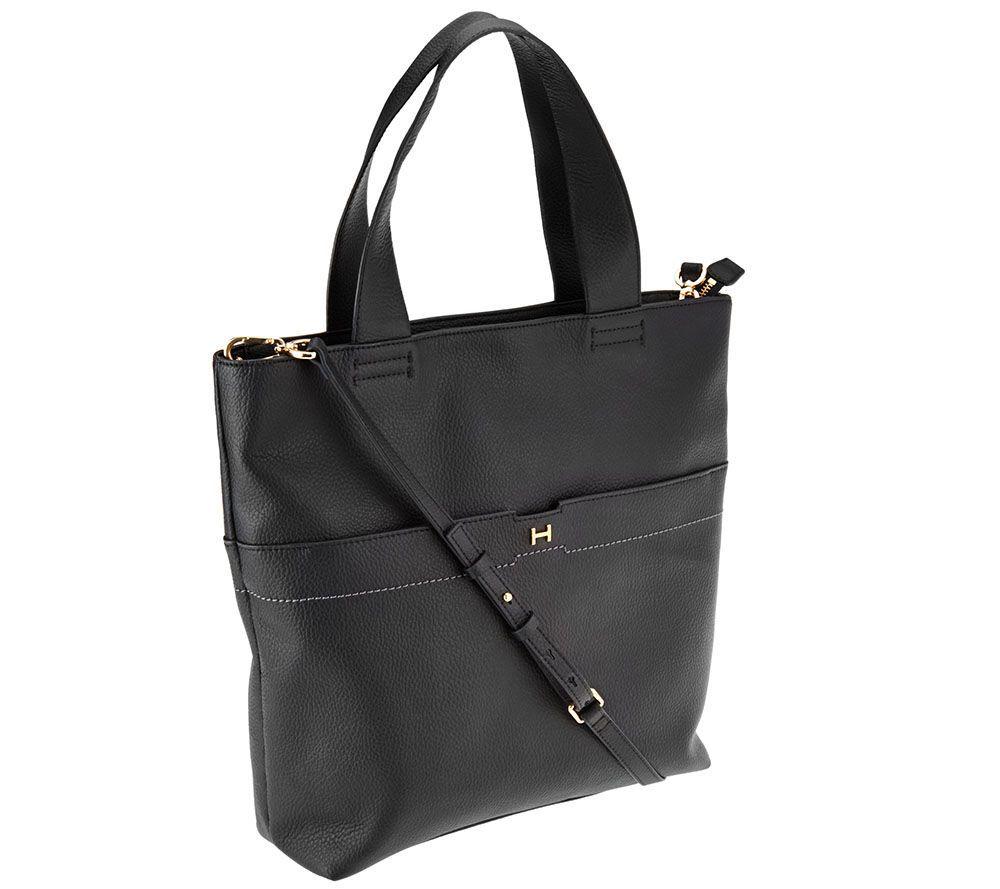 H by Halston Pebble Leather Tote Handbag  5819c750fc7d1
