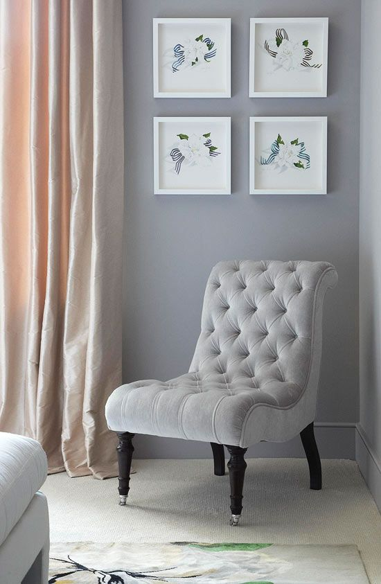 A Chair By George Smith Makes A Comfy Spot To Read. Silk Draperies In Blush