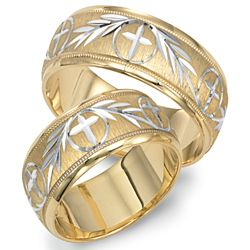 Main view of Two Tone Gold Wedding Band Engraved In Center With Cross Designmain view of Two Tone Gold Wedding Band Engraved In Center With  . Orthodox Wedding Rings. Home Design Ideas