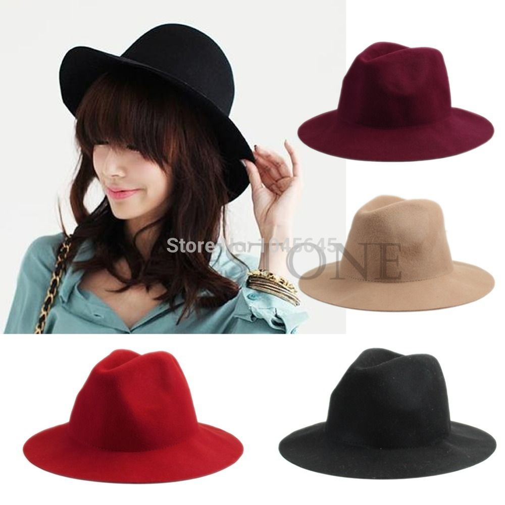 02816937667 Click to Buy    Fashion Women Vintage Wide Brim Wool Felt Hat ...
