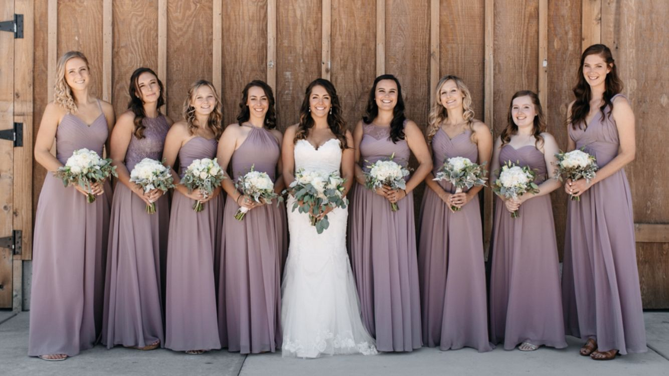 My bridesmaid dresses in dusk from azazie,