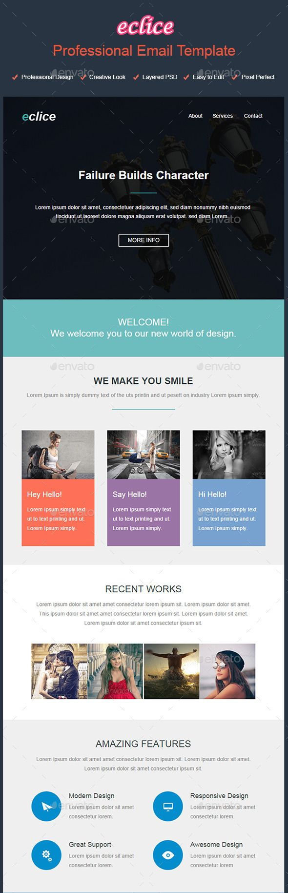 Eclice  Professional Email Template  Template Infographic