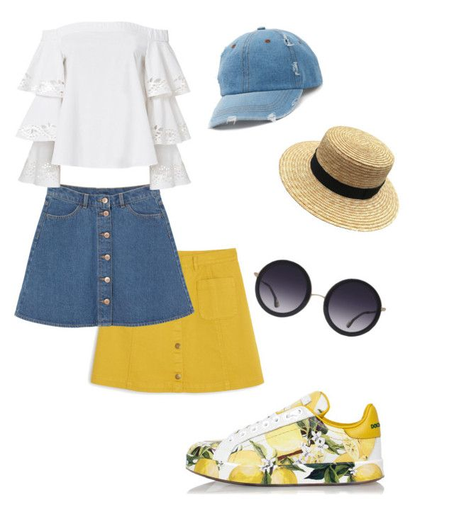 """""""Lemons🍋🍋"""" by redhead-from-denmark on Polyvore featuring Dolce&Gabbana, Monki, Exclusive for Intermix, Alice + Olivia and Mudd"""