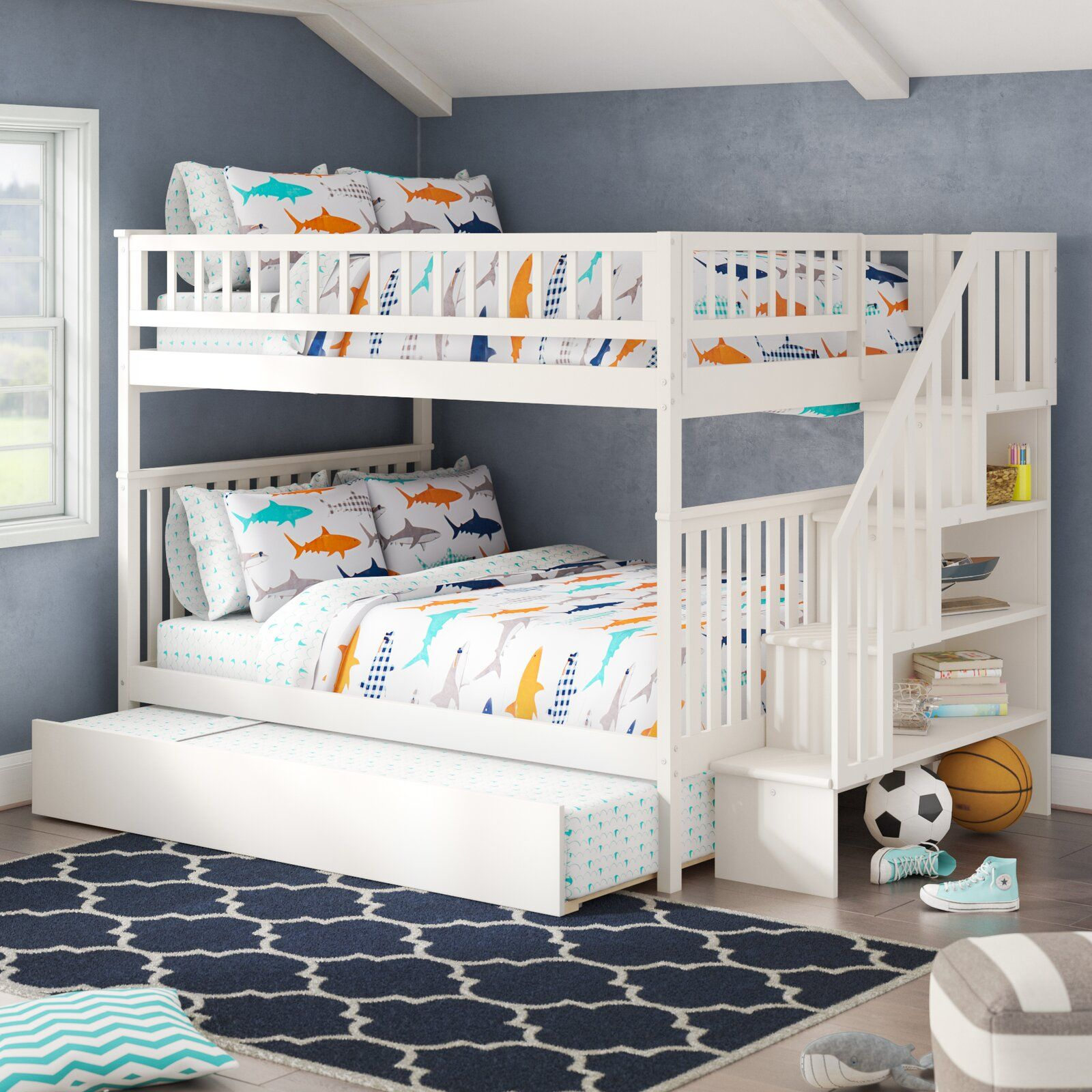 Shyann Staircase Full Over Full Bunk Bed With Trundle Bunk Bed