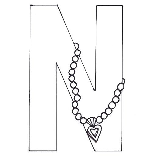 N For Necklace Coloring Pages Coloring Pages Color Coloring For Kids