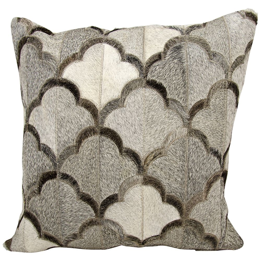 "Nourison Cloud Natural Hide 20"" Square Gray Pillow - Style # 1N454"