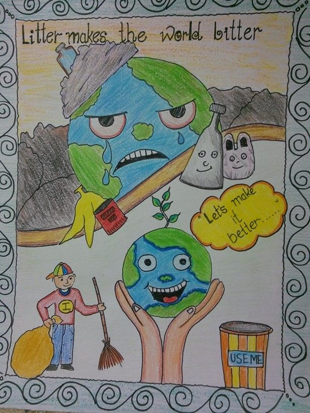 Cleanliness drawing Save earth drawing, Earth drawings
